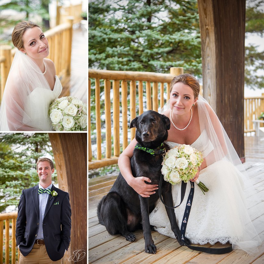beautiful bride with her dog on wedding day