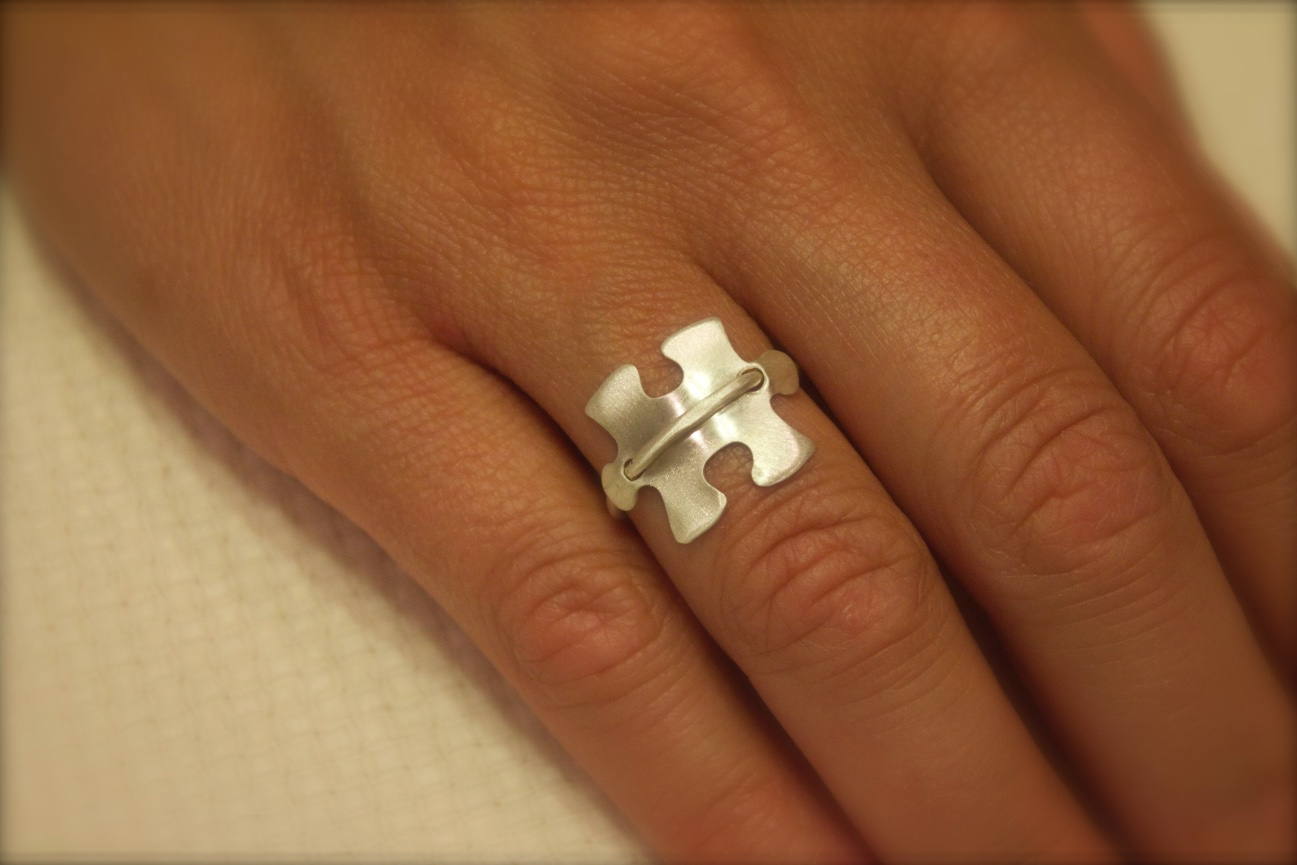 Asnc Sterling Silver Ring With Solid Puzzle Piece Kennedy Kreations