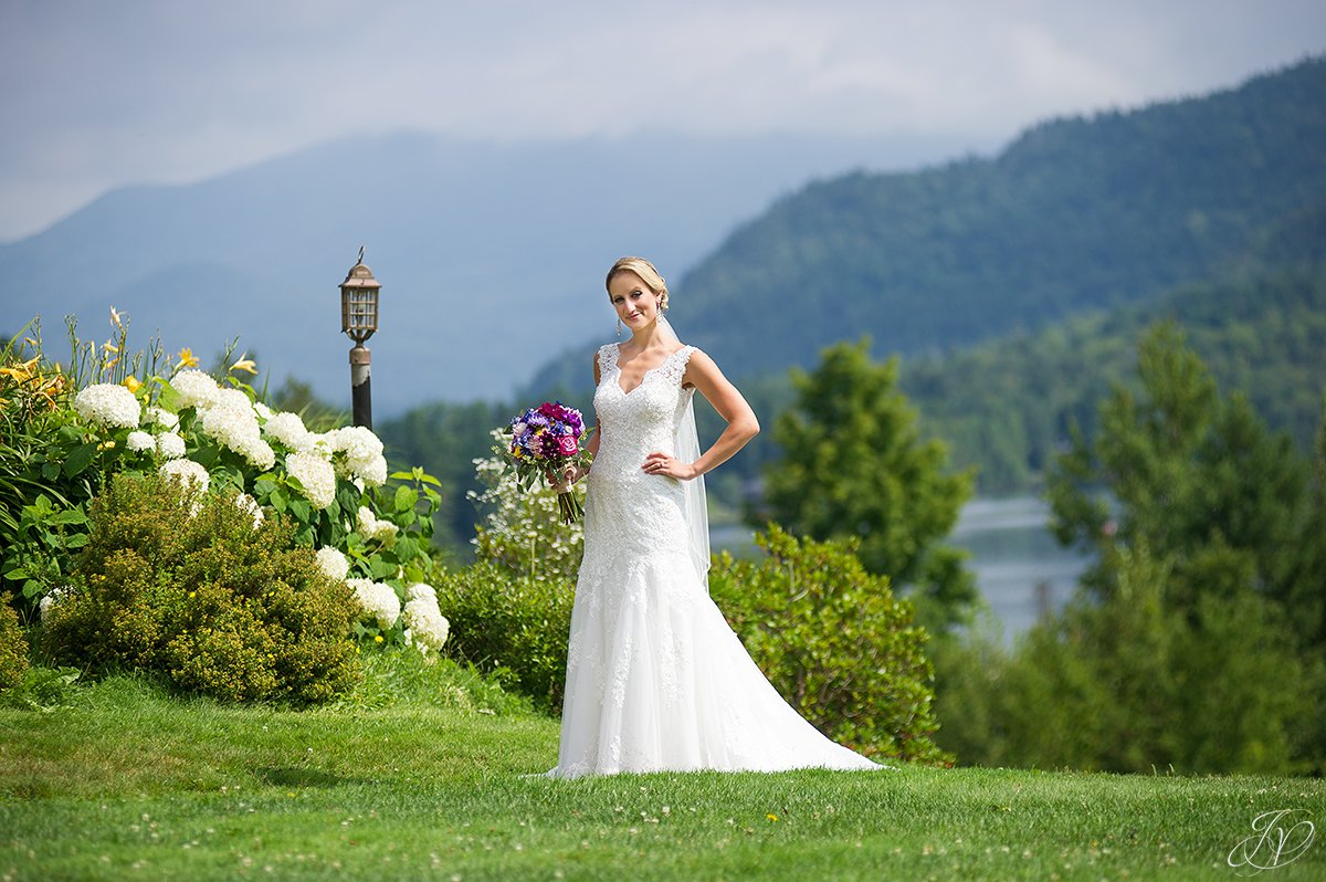 bridal portrait with scenic view