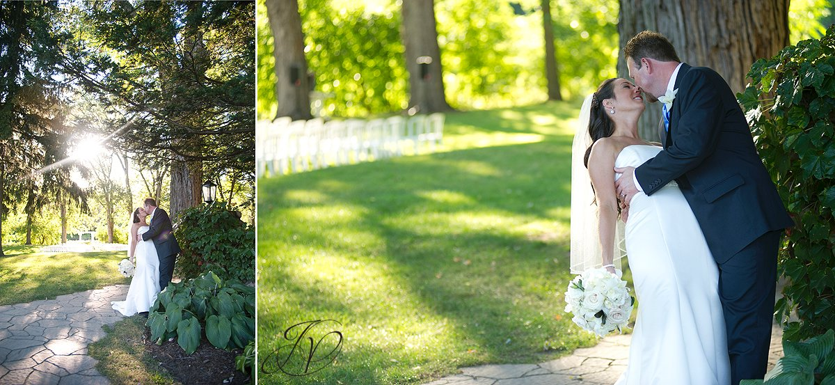 bride kissing groom photo, wedding ceremony photo, riverstone manor, schenectady wedding photographer