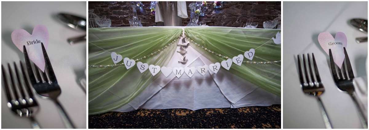 Just married banner at Lancashire Manor hotel