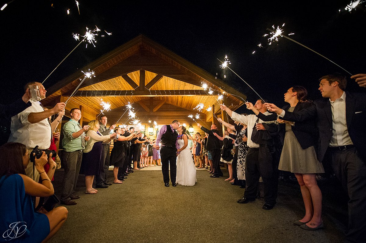 photo of sparklers exit at a wedding
