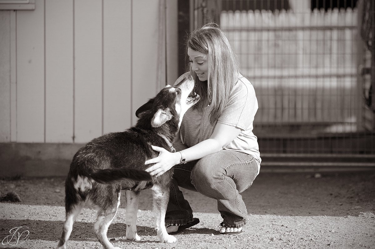 happy rescue dog with shelter volunteer