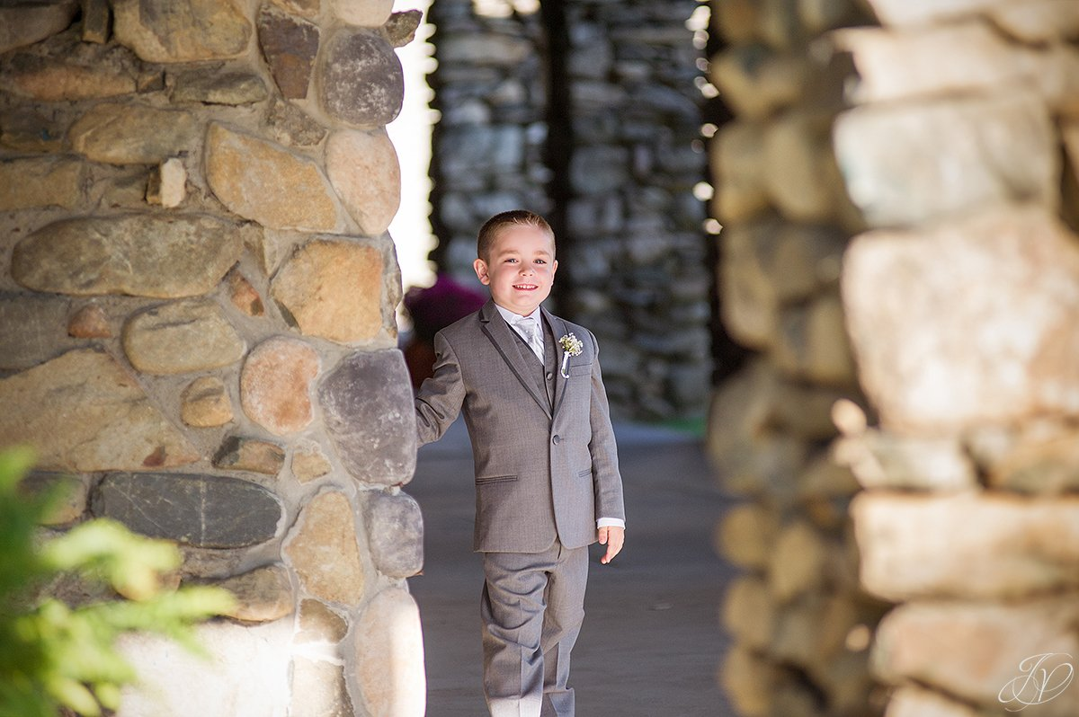 cute shot of ring bearer before cermony