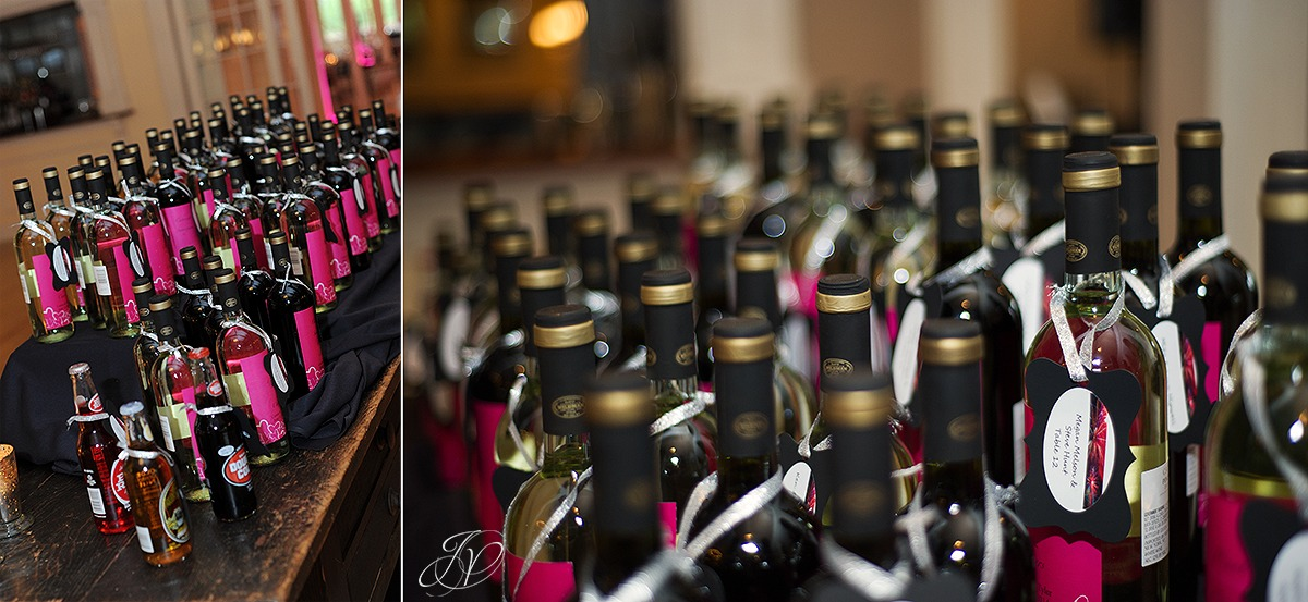 wine bottle wedding reception favors