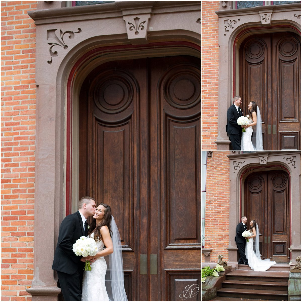 bride and groom portrait exterior brick building canfield casino