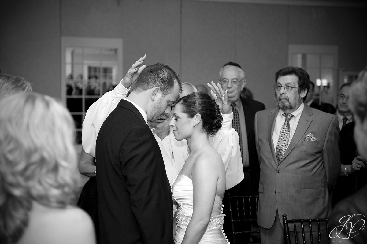 wedding blessing, jewish wedding, wedding ceremony photo, bride and groom at alter photo, The Glen Sanders Mansion, Albany Wedding Photographer