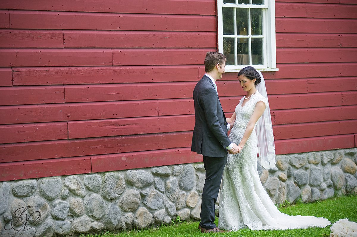 bride and groom in front of barn, first look at pruyn house, bride and groom portrait, pruyn house wedding, Wedding at The Pruyn House, Albany Wedding Photographer