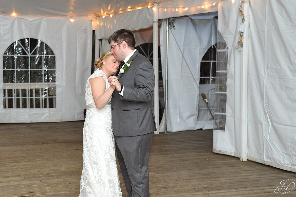 loving bride and groom first dance moment