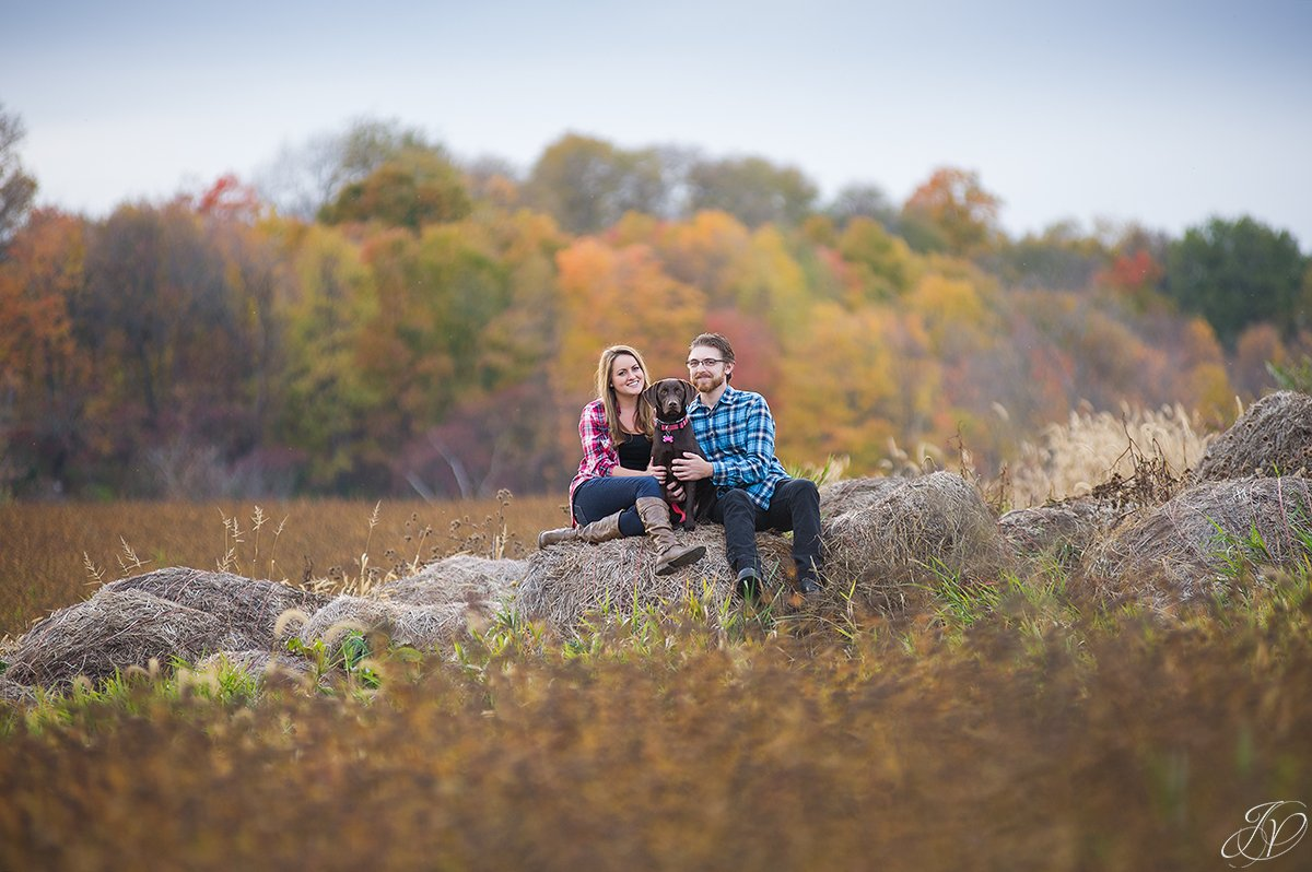 romantic fall engagement pictures with dog