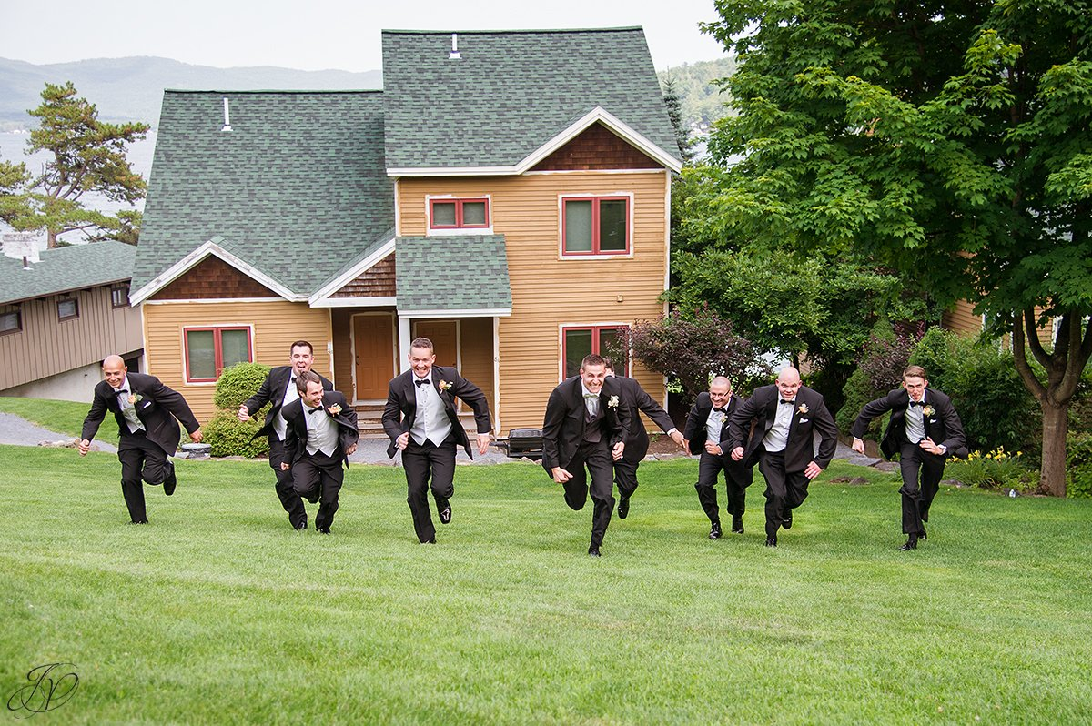 running groom and groomsmen wedding photos inn at erlowest