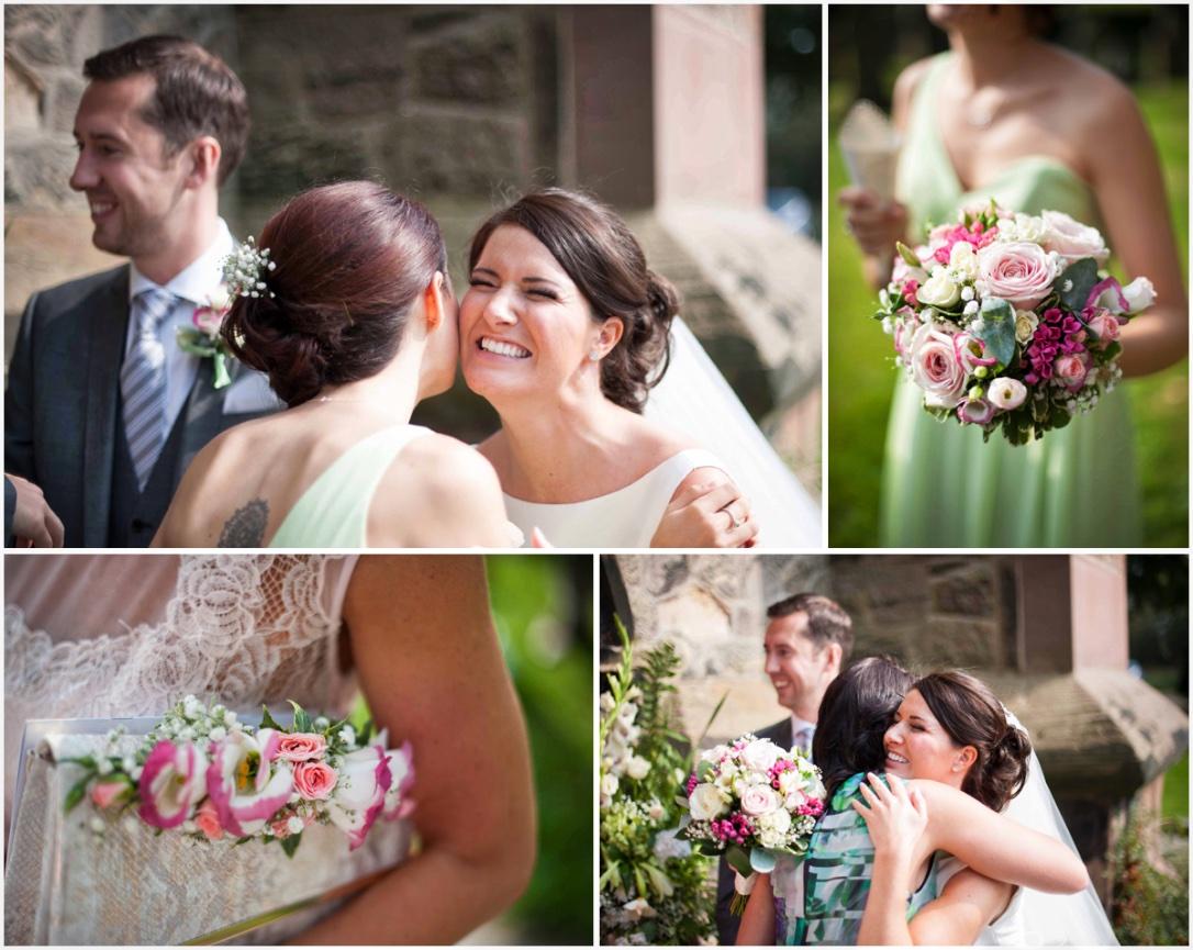 wedding photograph of hugging bride
