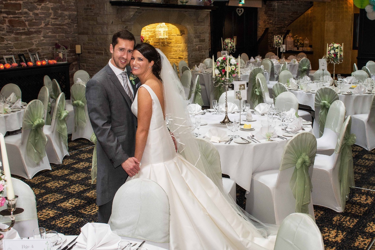 wide angle shot of couple in their reception room
