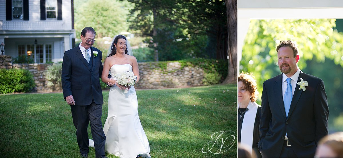 bride walking down isle, schenectady wedding photographer, riverstone manor