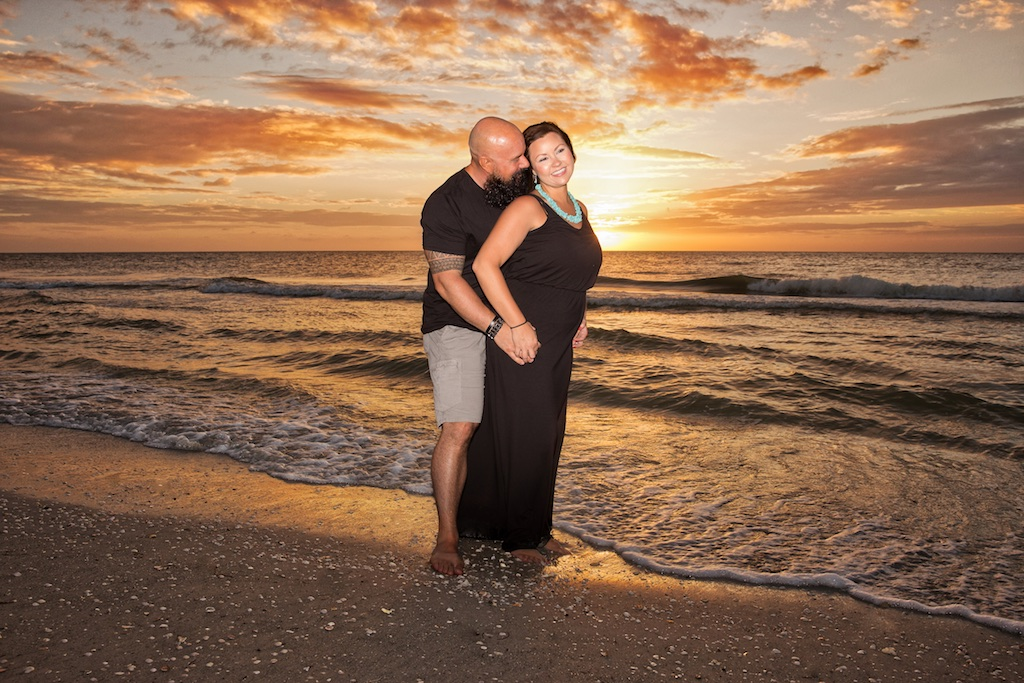 Couple photos Sand Key Beach Clearwater The Coulter's at sunset