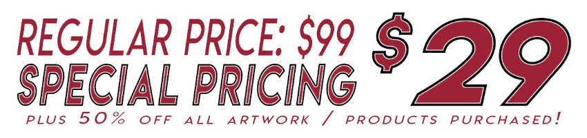 Regular Price $99 Special Price $29 plus 50% Off Products