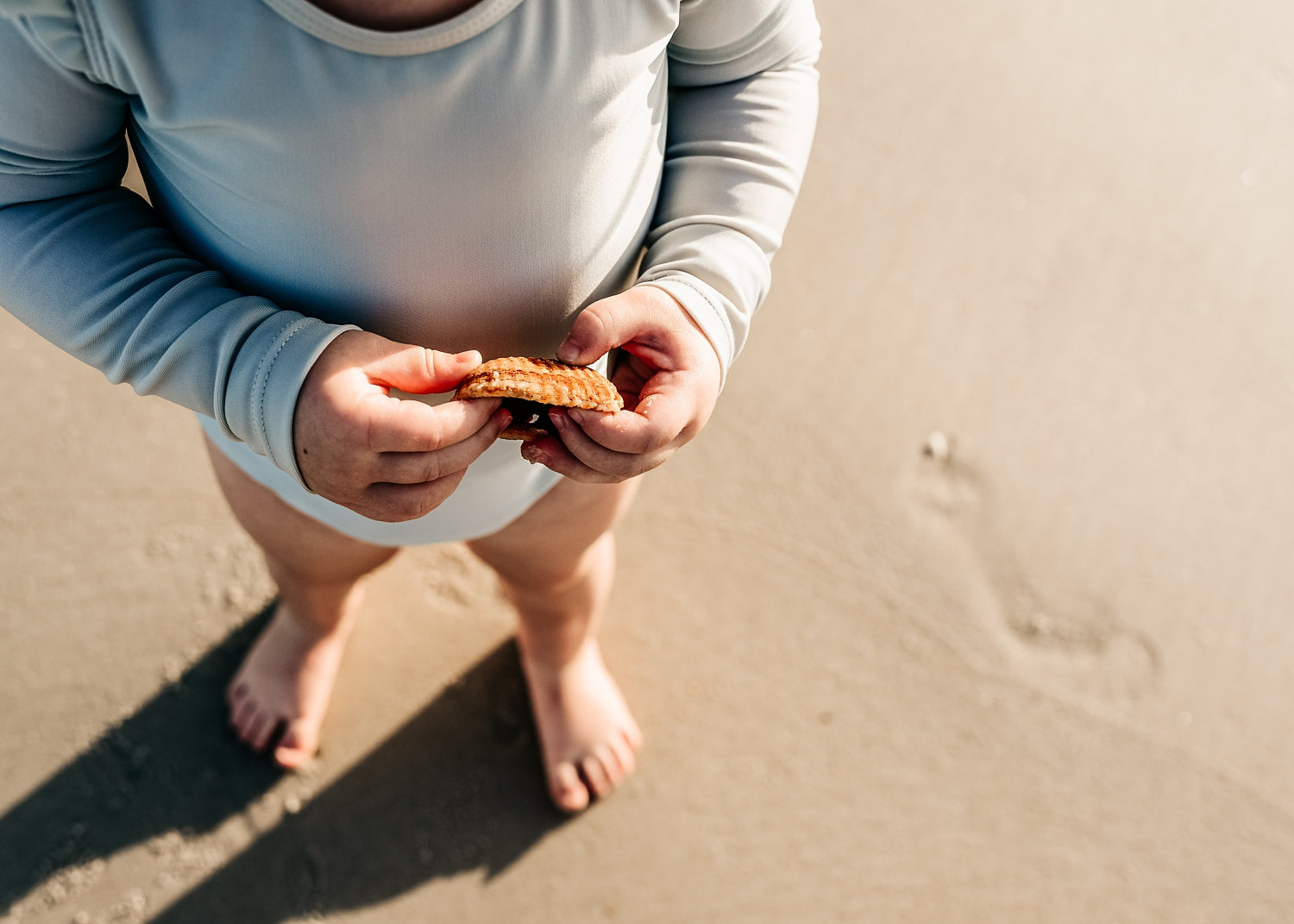 toddler holding a shell, footprint in the sand, Florida beaches, Ryaphotos
