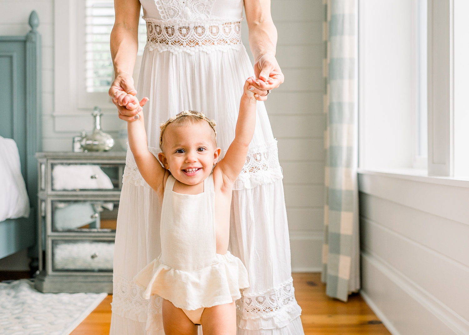 french country master bedroom inspiration, white bedroom inspo, mom holding baby daughter's hands, Rya Duncklee, Shop James