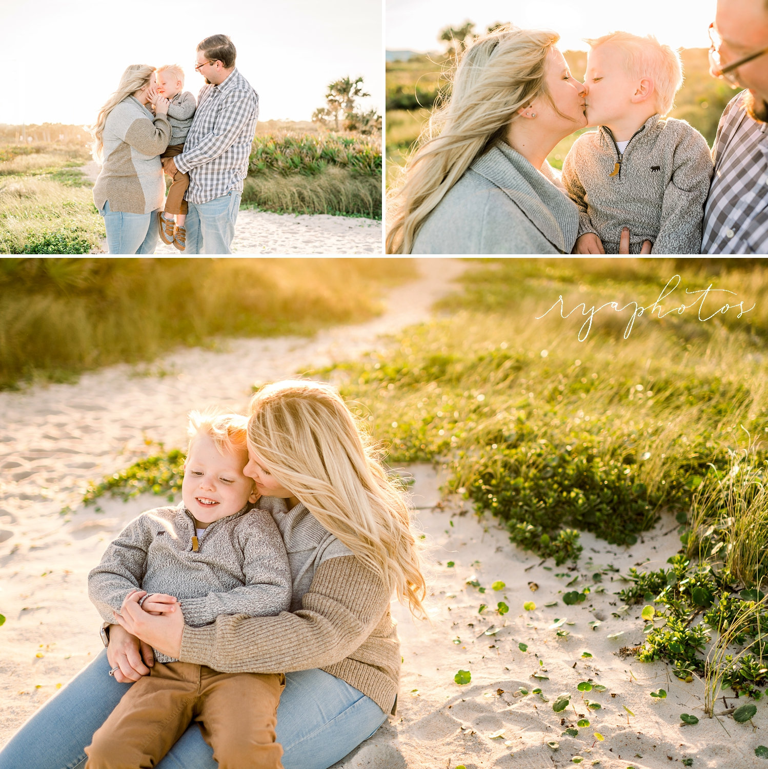 image collage, mother and father with young son, cozy beach outfits, Ryaphotos
